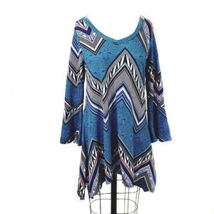 Retro 70's Blue Print Flare Sleeve Tunic Dress